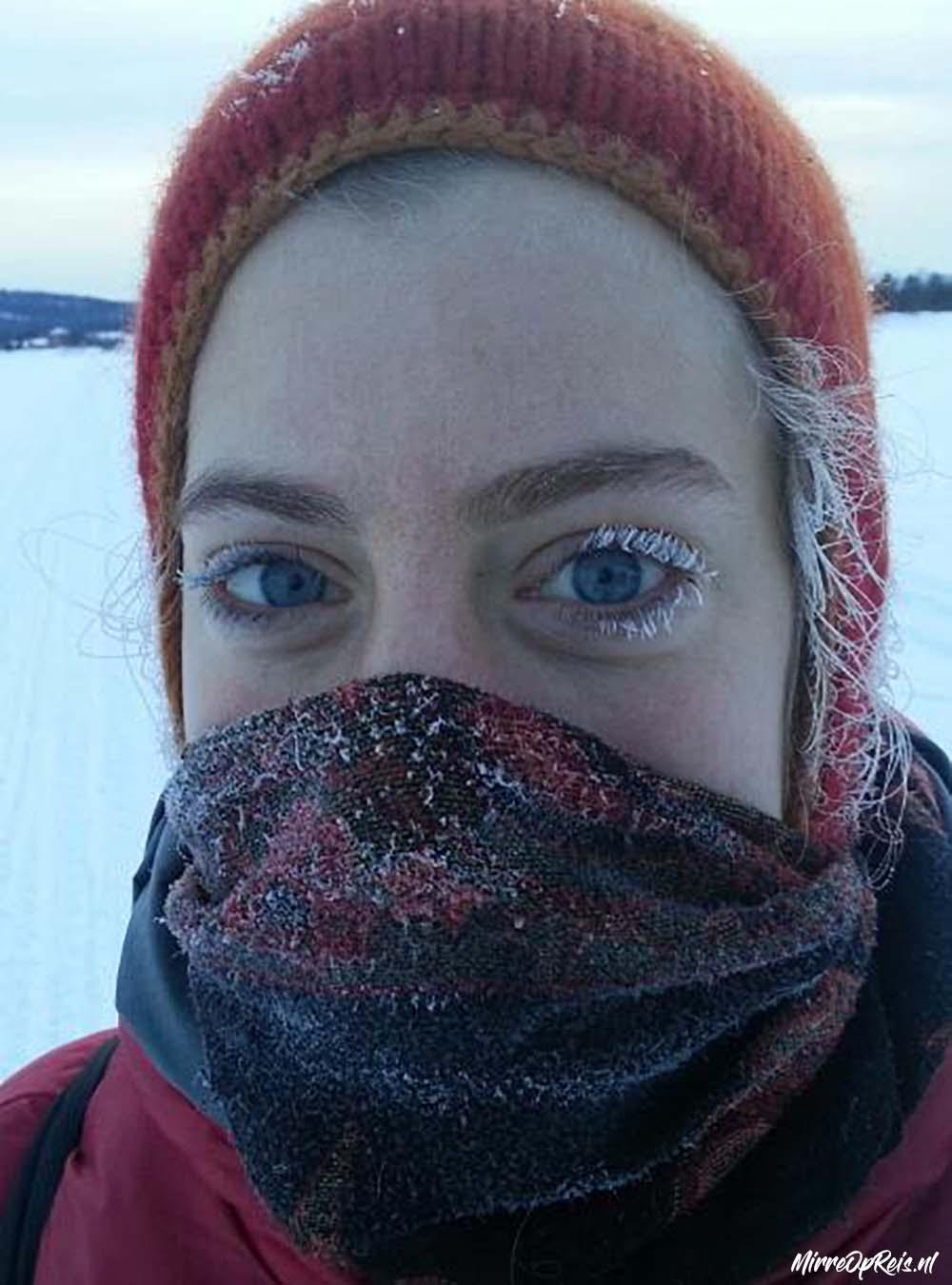 Fins Lapland ijs op de wimpers