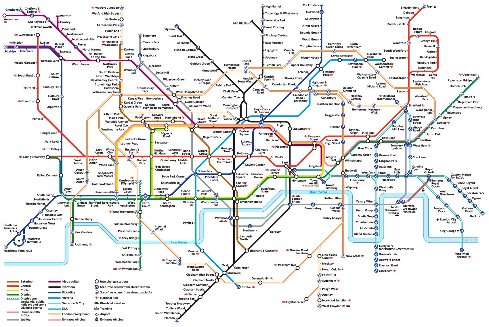 Londen underground map