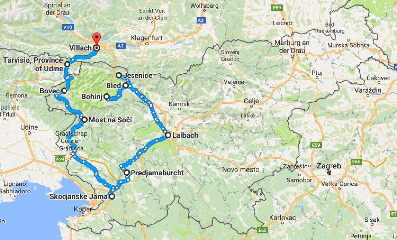 Slovenie map fietsen in Slovenië