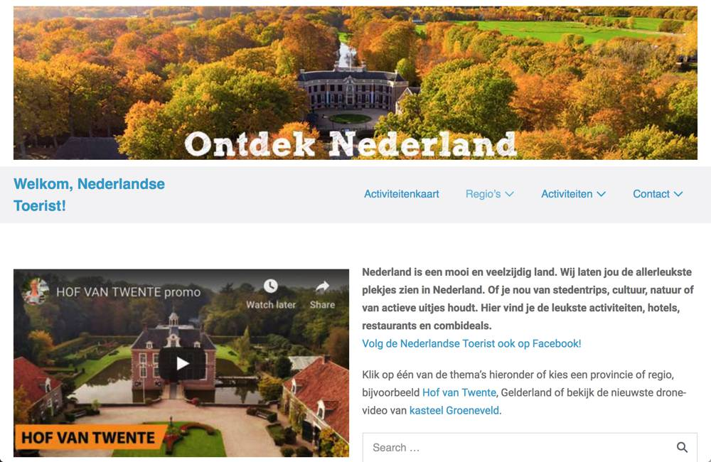 Screenshot website De Nederlandse Toerist